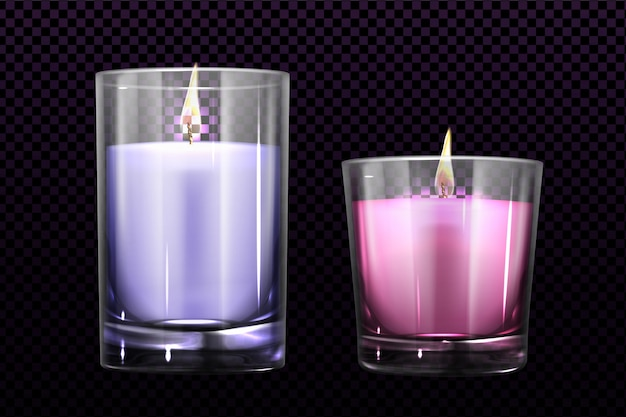 Burning candles in glass jars set isolated clipart Free Vector