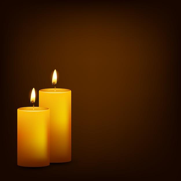 Горящие свечи на темном фоне Premium векторы