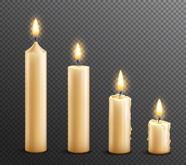 Burning candles realistic transparent background Free Vector