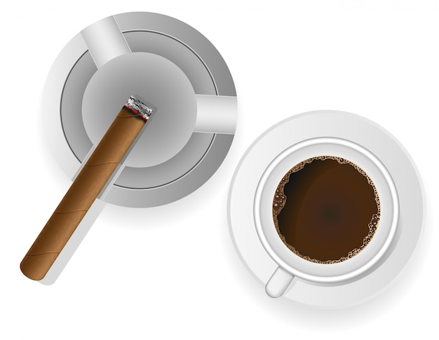 Burning cigar in an ashtray and coffee vector illustration Premium Vector
