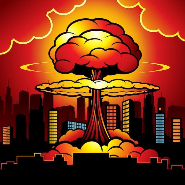 原爆の核爆発で燃える街。 Premiumベクター