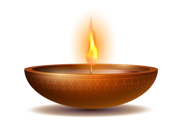 Premium Vector | Burning diya on happy diwali holiday on white background  for light festival of india. holiday decoration elements deepavali oil lamp.