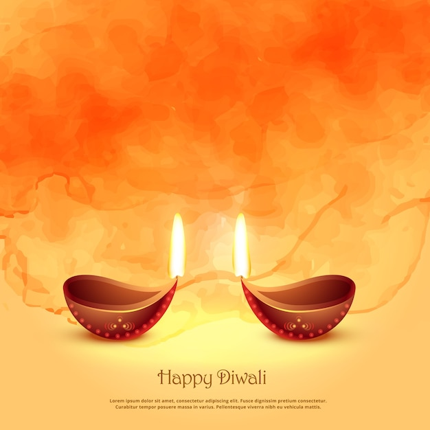 Burning diya lamps for diwali festival greeting background Premium Vector