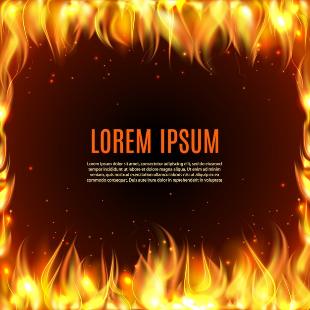 Burning fire flame on the black background Free Vector