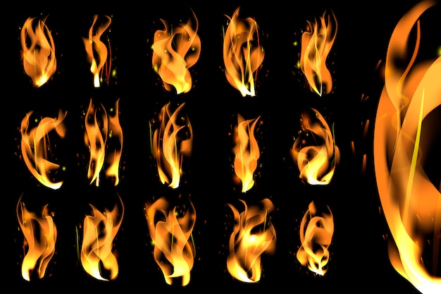Burning flames set Free Vector
