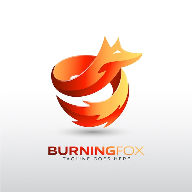 Burning fox logo template for your company brand Premium Vector