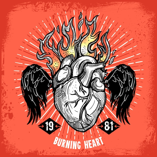 Burning heart tattoo Free Vector