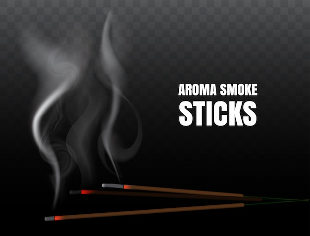 Burning indian incense joss sticks with realistic smoke on transparent background. illustration of buddhist praying and fire meditation with aroma incense stick Premium Vector