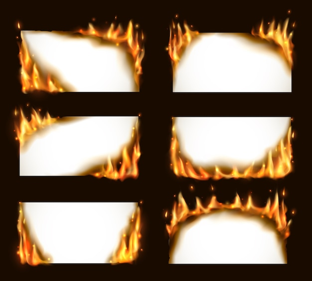 Burning paper banners,  blank pages with fire tongues and sparks. realistic  flaming frames, burning smoldering paper sheets.  white conflagrant cards template for advertising set Premium Vector