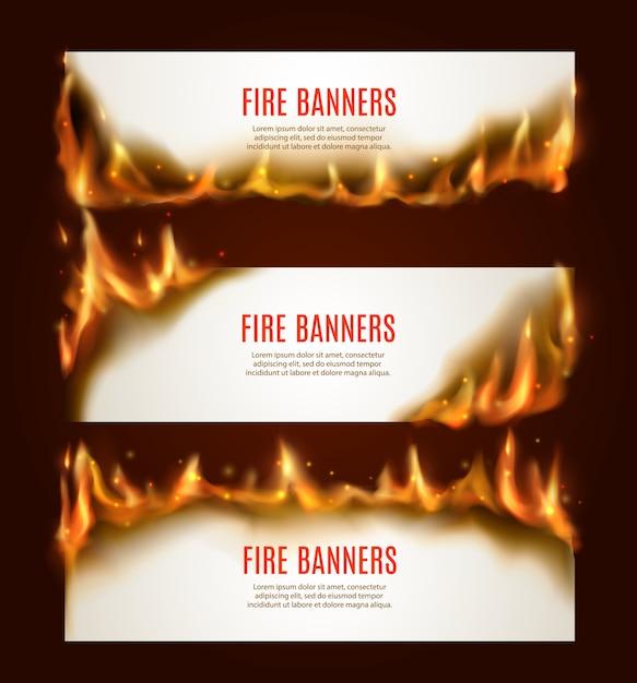 燃える紙の水平バナー、火と火花のある空白のページ。広告用の白い爆燃カードテンプレート、リアルな炎のフレーム、燃えるくすぶっている紙シートセット Premiumベクター