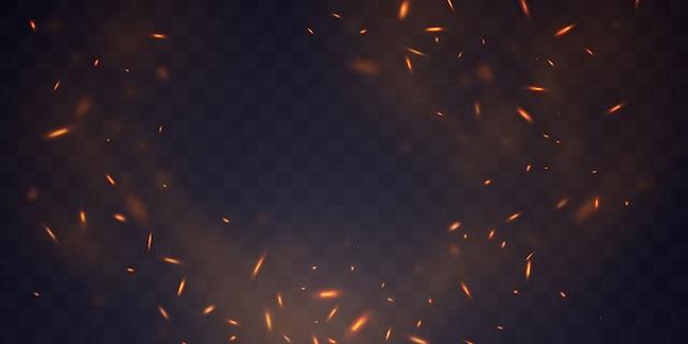Горящие красные горячие искры реалистичный огонь пламя абстрактный фон Premium векторы