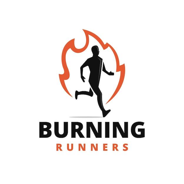 Burning runner logo design Premium Vector