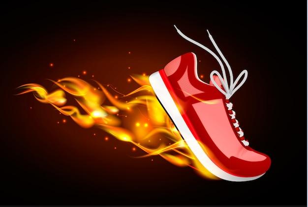 靴底の下から火とダイナミクスで赤いスニーカーの燃焼スポーツリアルなイラスト 無料ベクター