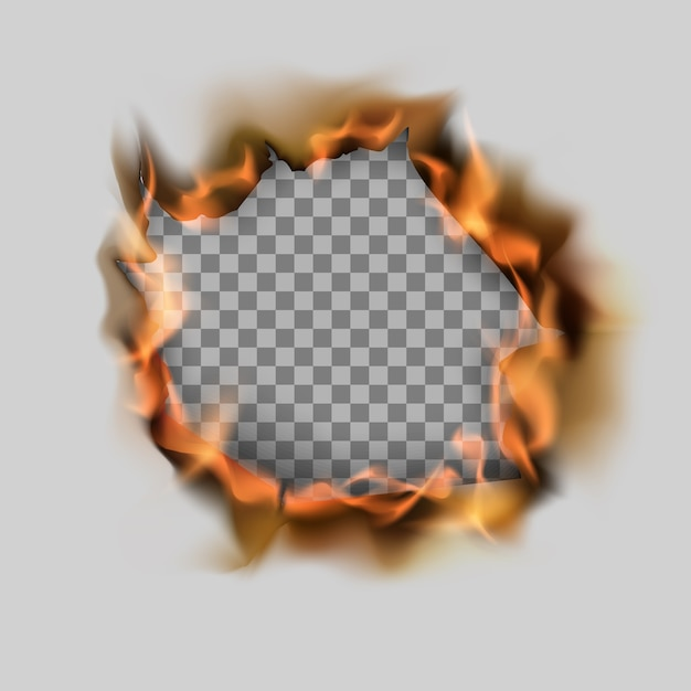 Горящее разорванное отверстие в листе бумаги и пламени. Premium векторы