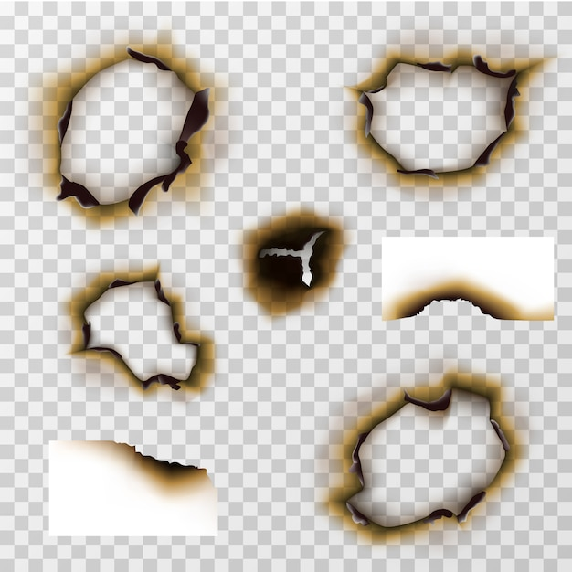 Burnt hole in paper or pergament, scorched papers vector set Premium Vector