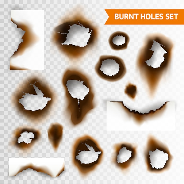 Burnt holes set Free Vector