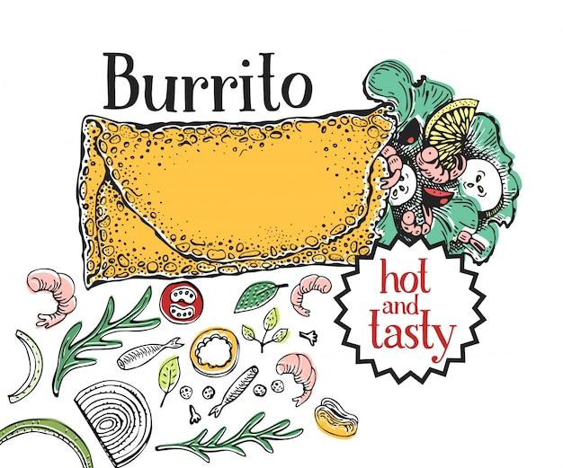 Burrito. mexican food. traditional mexican cuisine Premium Vector