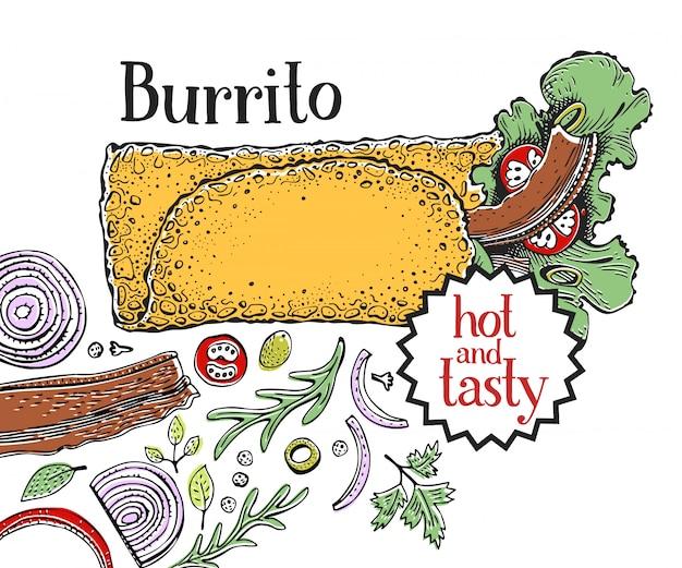 Burrito. mexican food. traditional mexican cuisine. Premium Vector