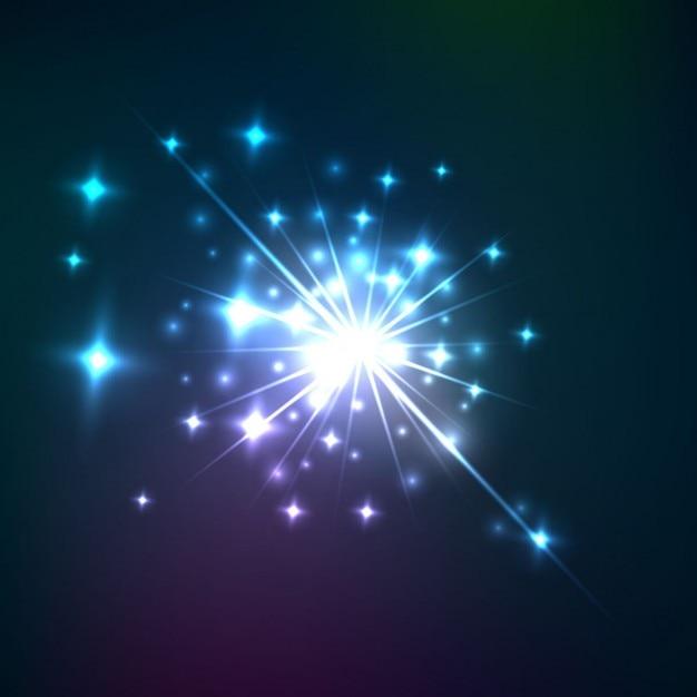 Burst of light with stars Free Vector
