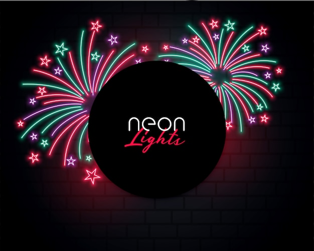 Bursting firework background in neon style design Free Vector