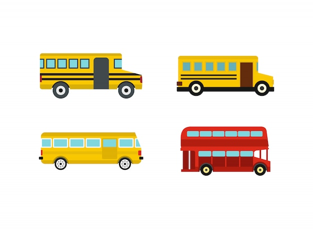 Bus icon set. flat set of bus vector icons collection isolated Premium Vector