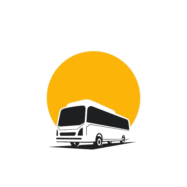 버스 로고 개념, 실루엣 버스 프리미엄 벡터