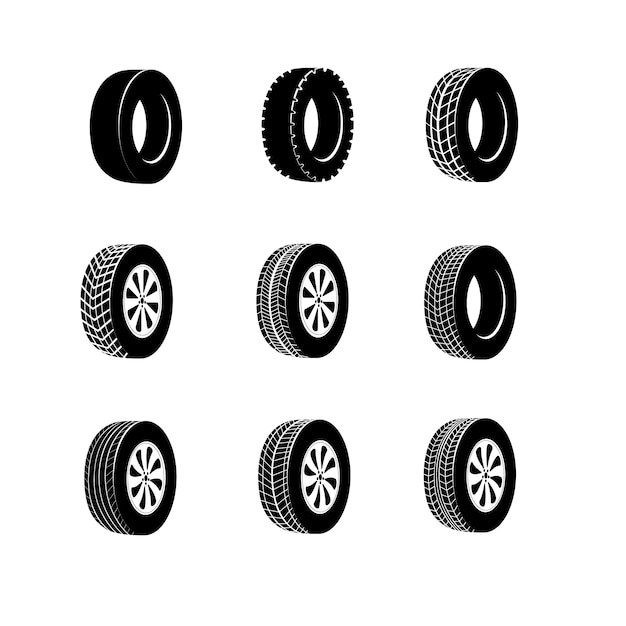 Bus rubber tire for wheel, truck or auto tyre. isolated icon of transport race tyre or winter protector. vulcanization banner or garage logo, automobile wheel balancing service or vehicle repair Premium Vector