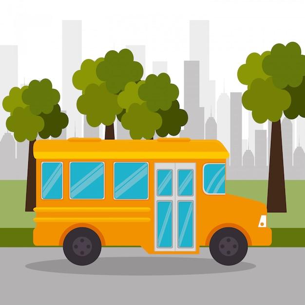 バス学校ツリー都市アイコン 無料ベクター