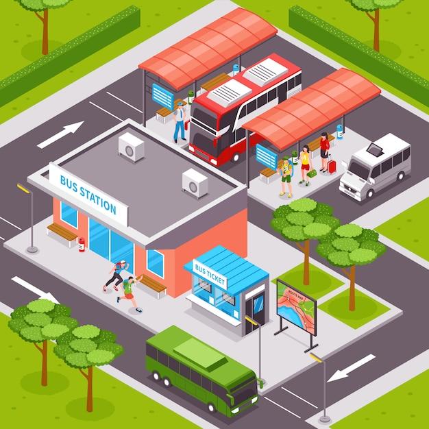 Bus station isometric illustration Free Vector
