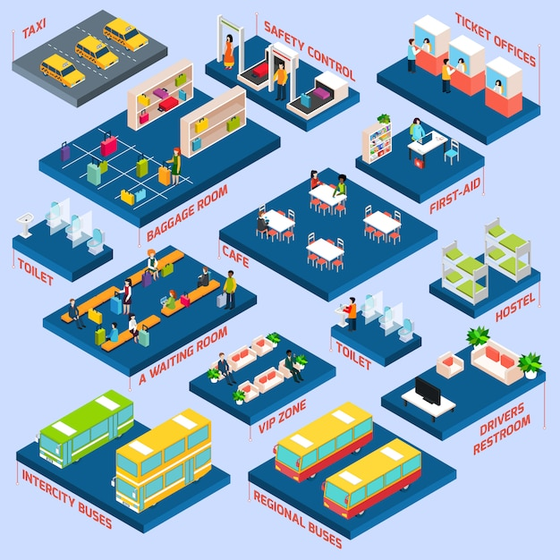 Bus station isometric Free Vector