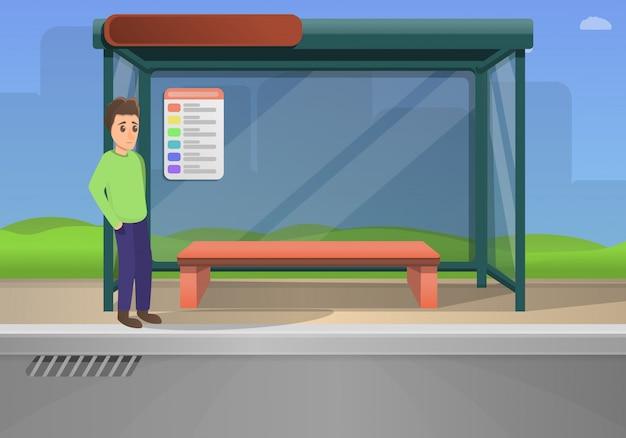 Bus stop concept illustration cartoon style Premium Vector