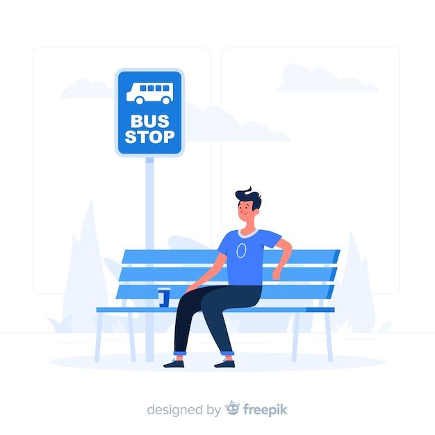 Иллюстрация концепции автобусной остановки Бесплатные векторы