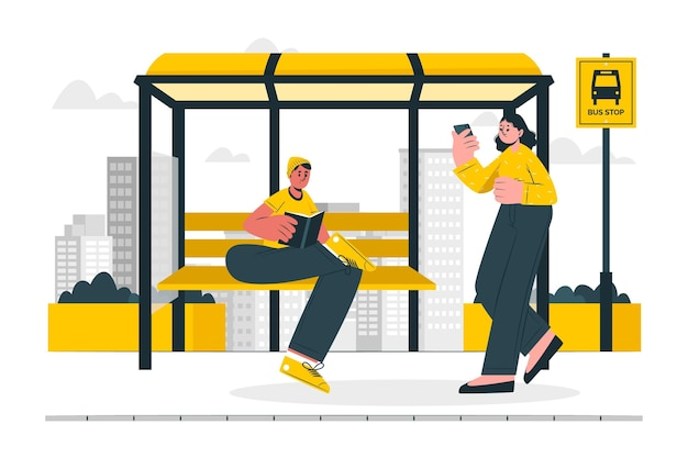 Bus stop concept illustration Free Vector