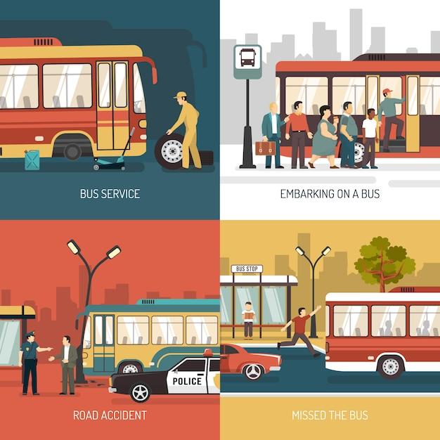 Bus stop elementi e personaggi Vettore gratuito