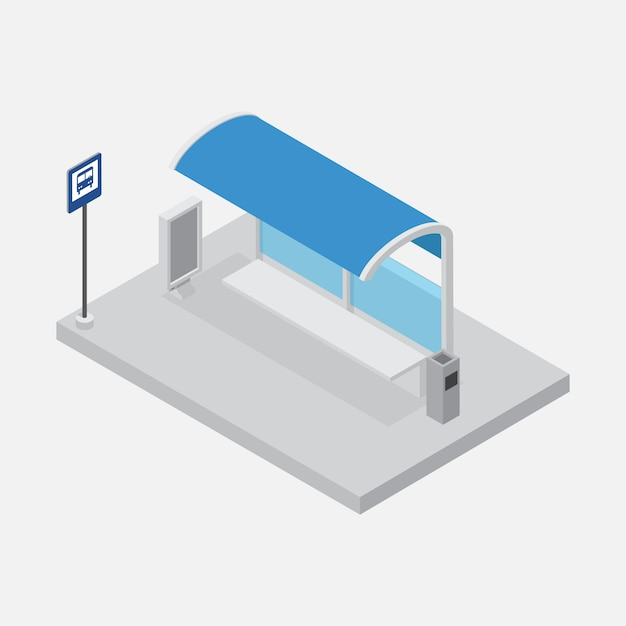 Bus stop shelter isometric vector Premium Vector