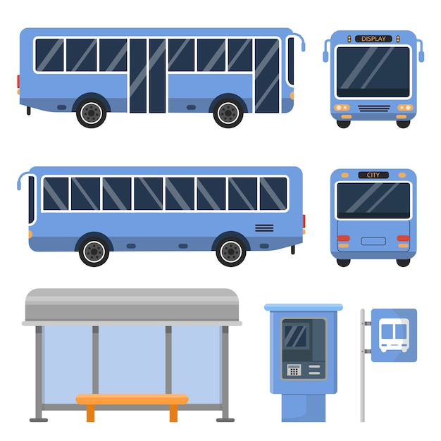 Bus stop  and various views of buses Premium Vector