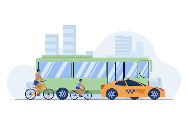 Bus, taxi and cyclist driving on city road. transport, bicycle, car flat vector illustration. traffic and urban lifestyle Free Vector