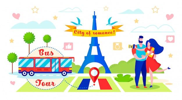 Bus tour to romantic city vector illustration. Premium Vector