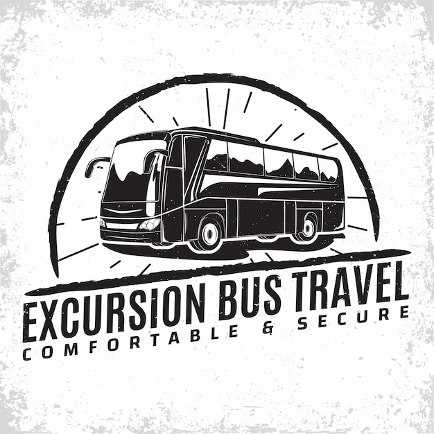 Bus travel company logo , emblem of excursion or tourist bus rental organisation, travel agency print stamps, bus typography emblem, Premium Vector