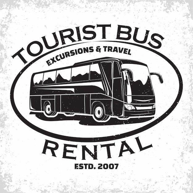Логотип автобусной туристической компании, эмблема организации экскурсии или аренды туристического автобуса, печать марок туристического агентства, эмблема типографии автобуса, Premium векторы