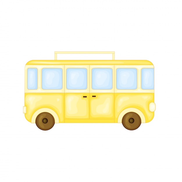 Bus to travel in cute cartoon style. vector illustration isolated Premium Vector