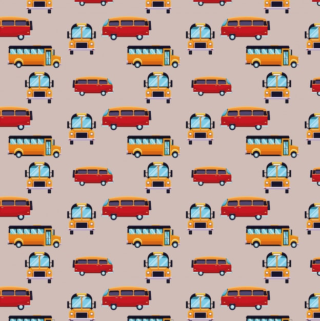 Bus and van cartoons pattern background Free Vector