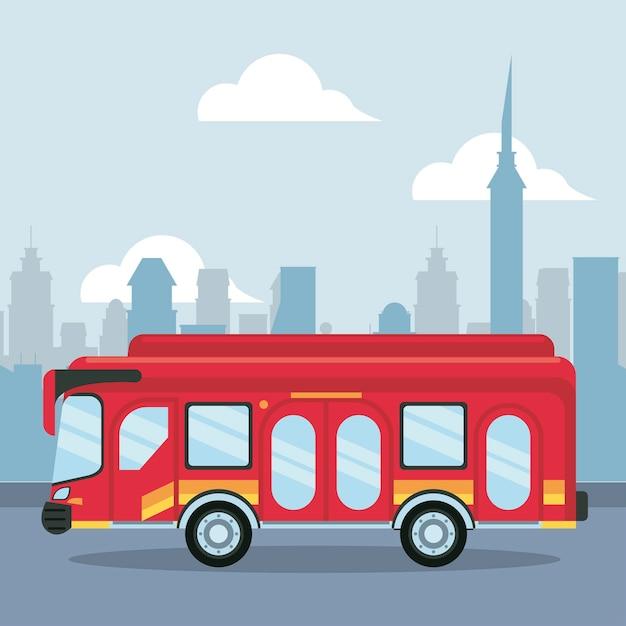 街のシーンのイラストのバス車両 Premiumベクター