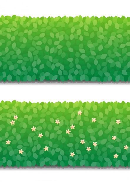 ブッシュの壁と小さな花が分離されました。緑の茂みフェンスシームレスパターン。 Premiumベクター