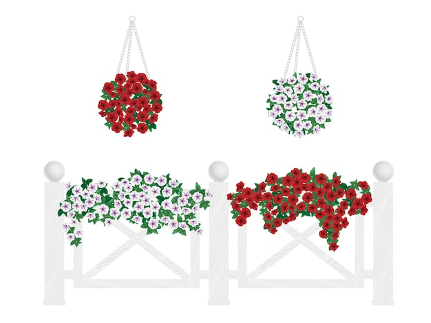 Bushes and flowers in pots and hanging on the fence. Premium Vector