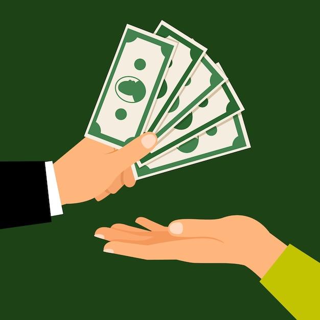 Busienss man hand handing money to man Premium Vector