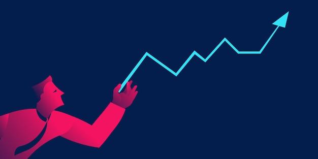 Businenessman с диаграммой роста, концепция финансового управления бизнесом Premium векторы