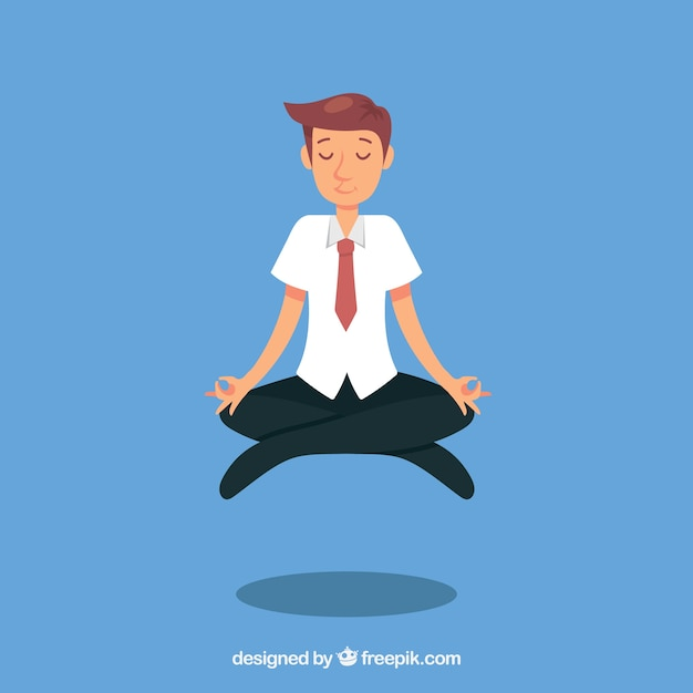 Busines man meditating Free Vector