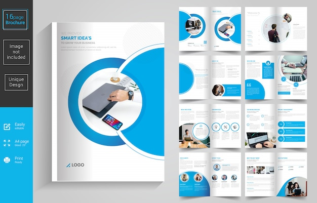 Business 16 pages brochure design template Premium Vector