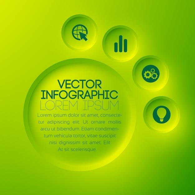テキストの緑の丸いボタンとアイコンとビジネス抽象的なインフォグラフィックテンプレート 無料ベクター